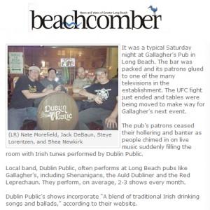 dublin public hire irish band beachcomber